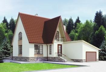 Двухэтажный мансардный дом 155 м.кв. / 3 к. / гараж в Севастополе проект